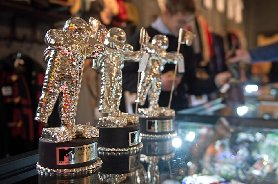 Keith Flint's MTV music award on display at Cheffins auctioneers in Cambridge, as the Prodigy star's personal belongings go under the hammer on Thursday.