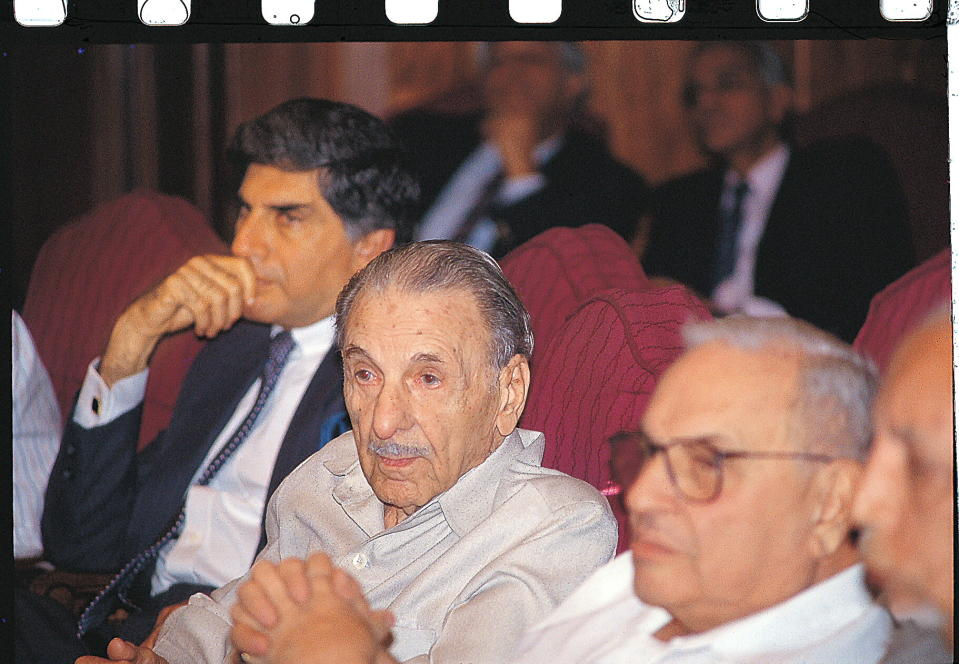 INDIA - JANUARY 08: JRD Tata Along with Ratan Tata and Russi Modi at the meeting in New Delhi, India (Photo by Hemant Pithwa/The The India Today Group via Getty Images)