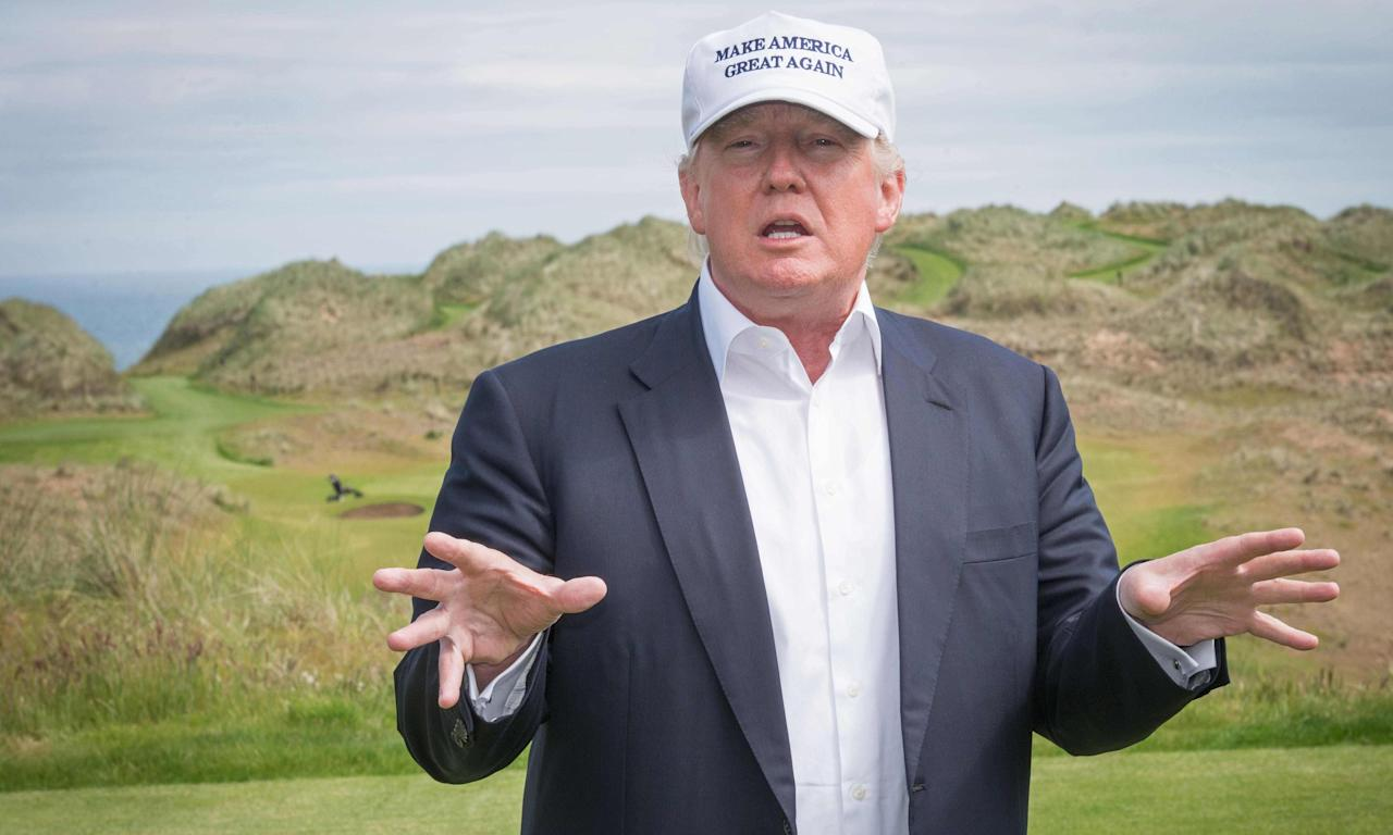 Donald Trump at his International Golf Links course north of Aberdeen on the east coast of Scotland.