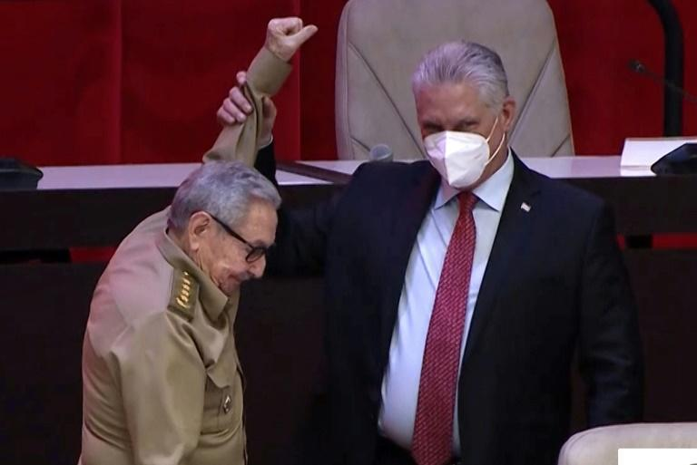 Communist Party first secretary Miguel Diaz-Canel (right), who took over from Raul Castro on April 19, has previously spoken of the need for Cubans to be better connected digitally