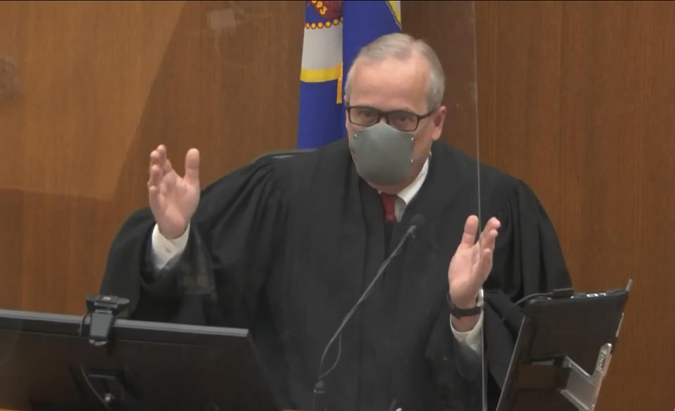 In this image from video, Hennepin County Judge Peter Cahill presides over pretrial motions before jury selection, Monday, March 8, 2021, in the trial of former Minneapolis police officer Derek Chauvin, in the May 25, 2020, death of George Floyd at the Hennepin County Courthouse in Minneapolis, Minn. (Court TV via AP, Pool)