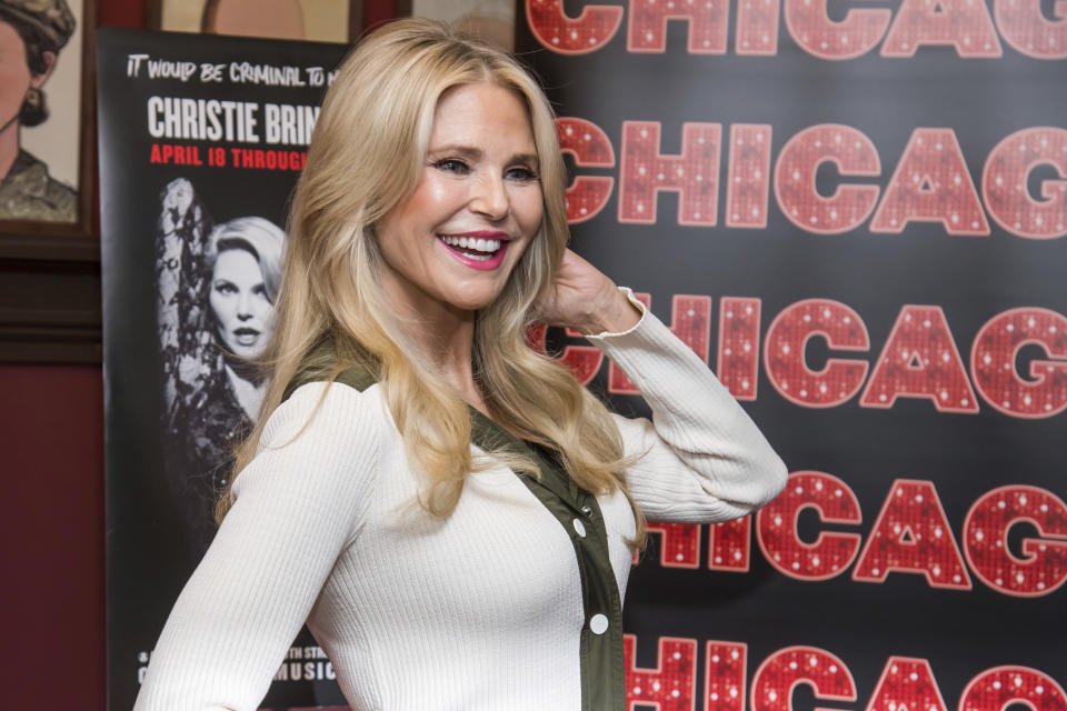 """Christie Brinkley poses at a press event to announce her return to playing the character """"Roxy Hart"""" in the Broadway musical """"Chicago"""" at Sardi's Restaurant on Tuesday, April 16, 2019, in New York. (Photo by Charles Sykes/Invision/AP)"""
