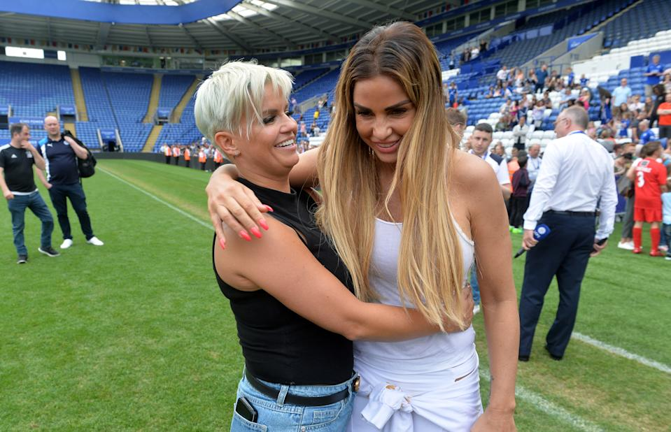 LEICESTER, ENGLAND - May 28: Team managers Katie Price and Kerry Katona during the Celebrity Charity Football Match at King Power Stadium on May 28 , 2017 in Leicester, United Kingdom.  (Photo by Plumb Images/Leicester City FC via Getty Images)