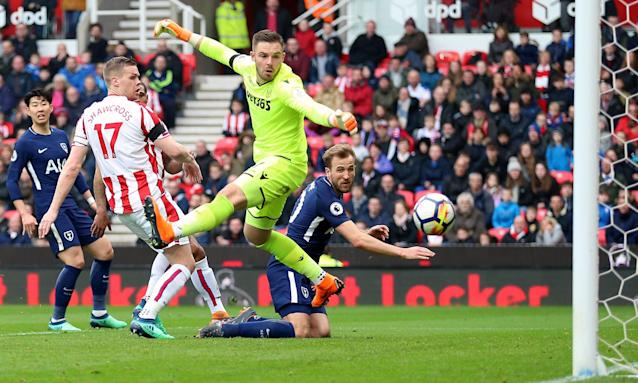 Harry Kane watches the ball head for the Stoke net for Tottenham's second goal last Saturday and which they later appealed for.