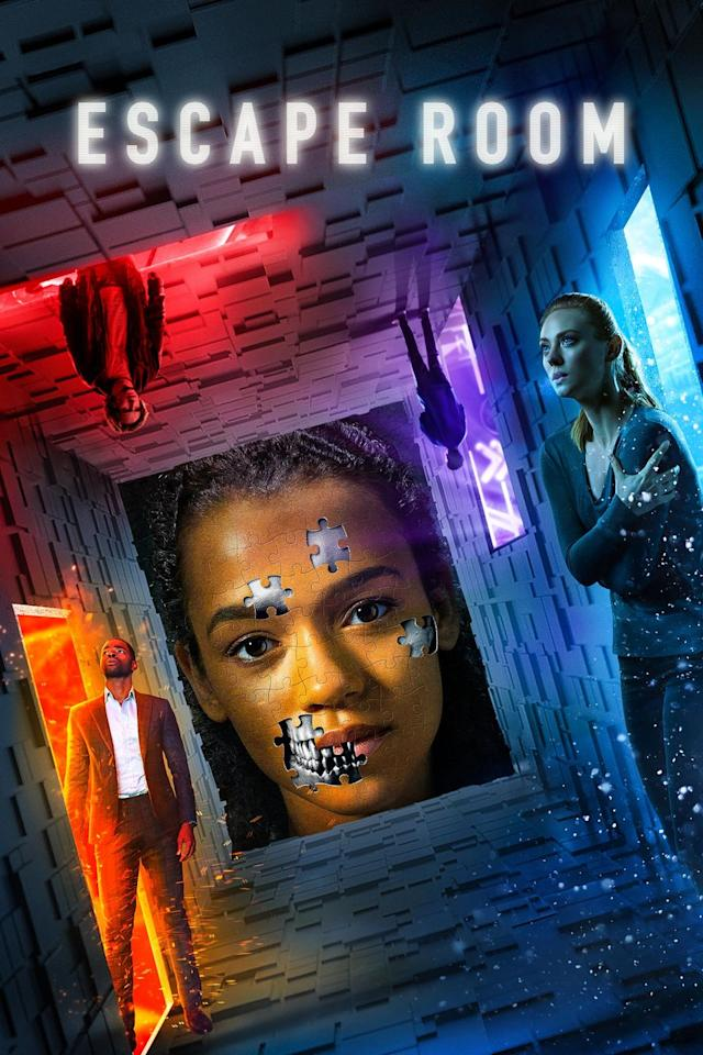 """<p>A group of strangers are invited to take part in a escape room with a special grand prize, but they soon find out that it's all part of an elaborate plan and they have to survive.  </p><p><a class=""""body-btn-link"""" href=""""https://www.amazon.com/Escape-Room-Tyler-Labine/dp/B07MLJKR8F/?tag=syn-yahoo-20&ascsubtag=%5Bartid%7C10065.g.1558%5Bsrc%7Cyahoo-us"""" target=""""_blank"""">Watch</a></p>"""