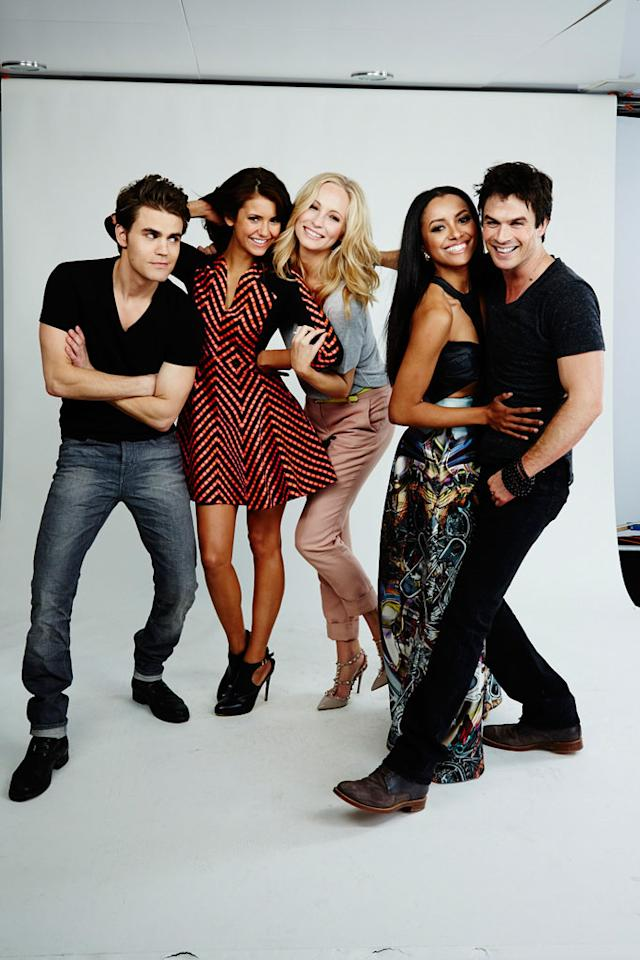 "Paul Wesley, Nina Dobrev, Candice Accola, Kat Graham, and Ian Somerhalder of ""The Vampire Diaries"" posing for TV Guide at the 2013 Comic-Con International Convention."