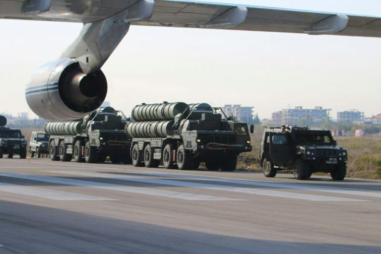 Russia's S-400 air defence missile systems stand at an airfield at the Hmeimim airbase in the Syrian province of Latakia