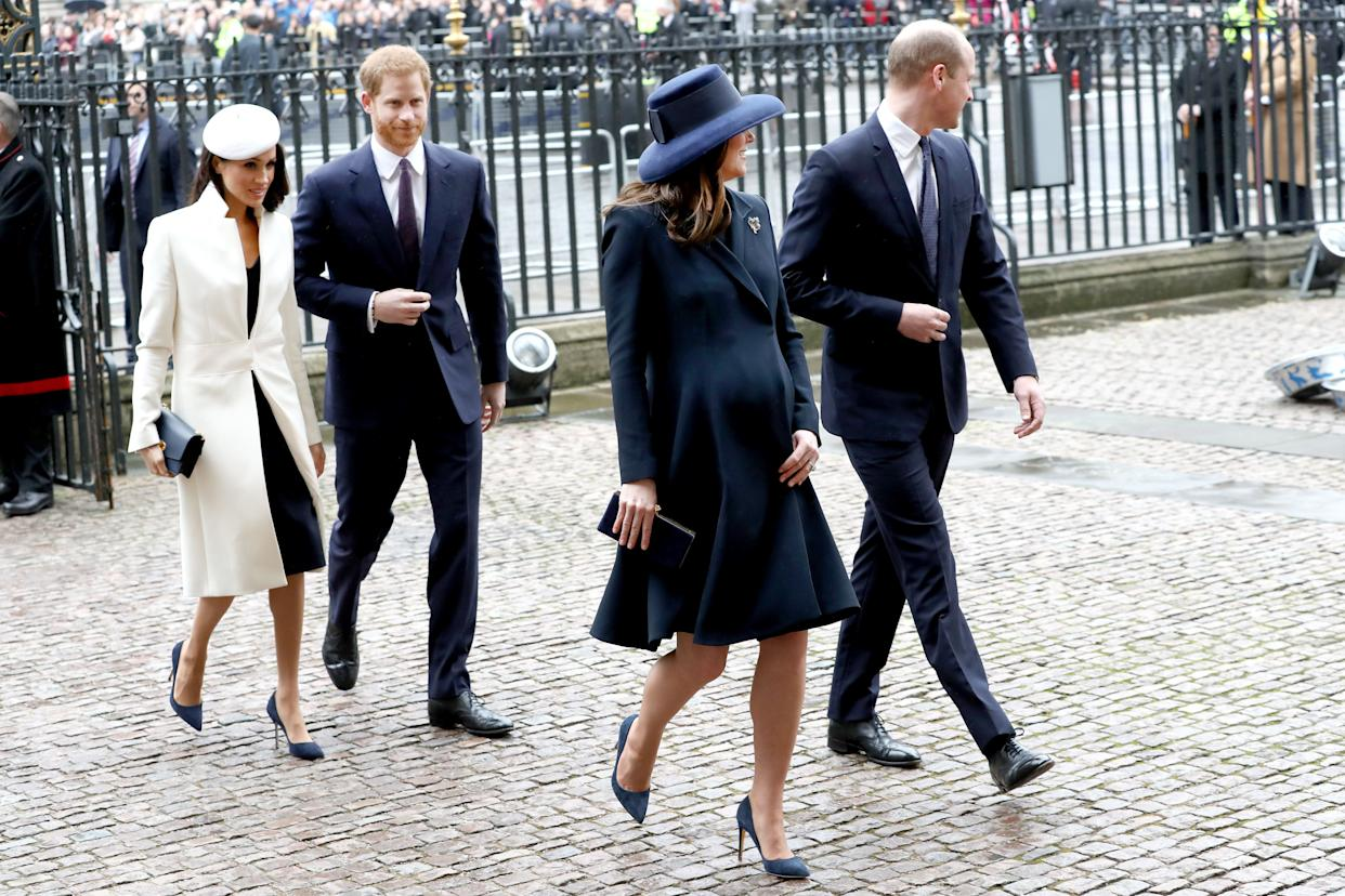 """The <a  data-cke-saved-href=""""https://www.reuters.com/article/us-britain-royals/britains-royal-fab-four-attend-first-official-event-together-idUSKCN1GC1OJ"""" href=""""https://www.reuters.com/article/us-britain-royals/britains-royal-fab-four-attend-first-official-event-together-idUSKCN1GC1OJ"""" target=""""_blank"""">""""fab four,""""</a> as they've come to be known, make their way into Westminster Abbey."""