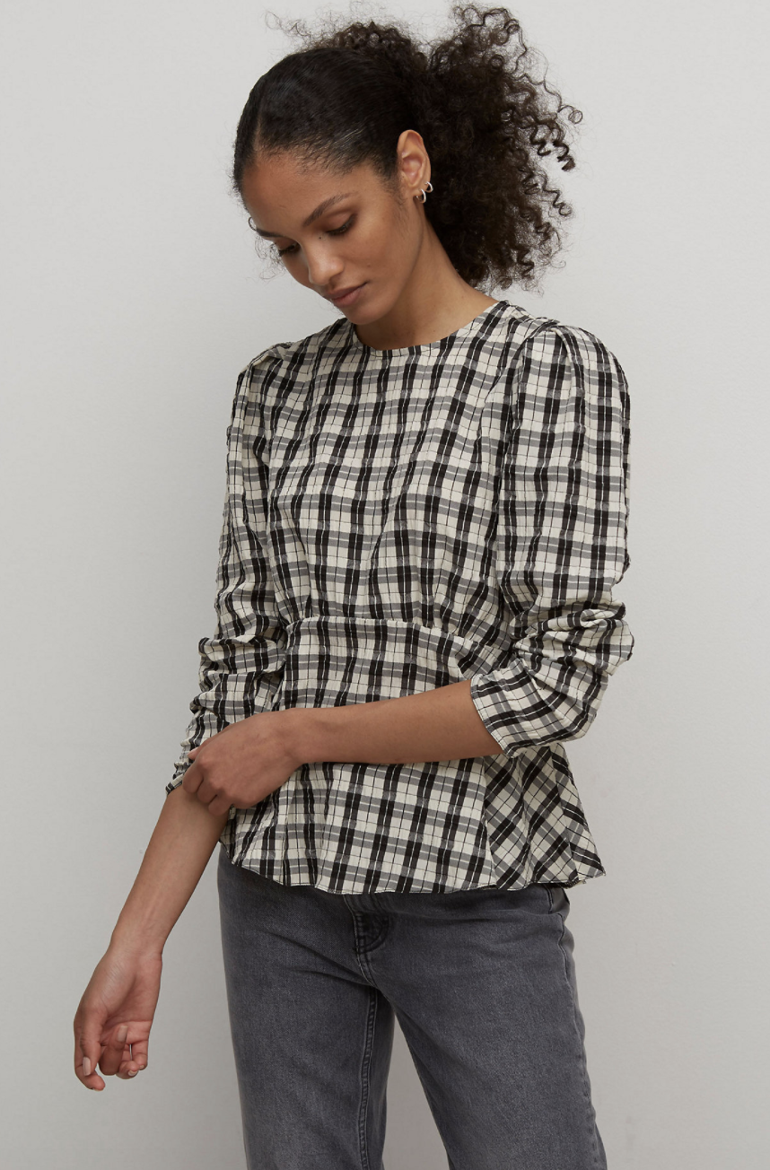 Checked Long Sleeve Peplum Top