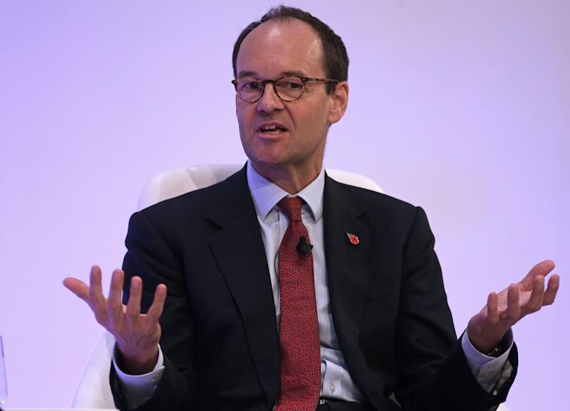 Chief executive of J Sainsbury plc, Mike Coupe, speaks on a panel at the annual Confederation of British Industry (CBI) conference in east London, on November 6, 2017. / AFP PHOTO / Daniel LEAL-OLIVAS (Photo credit should read DANIEL LEAL-OLIVAS/AFP via Getty Images)