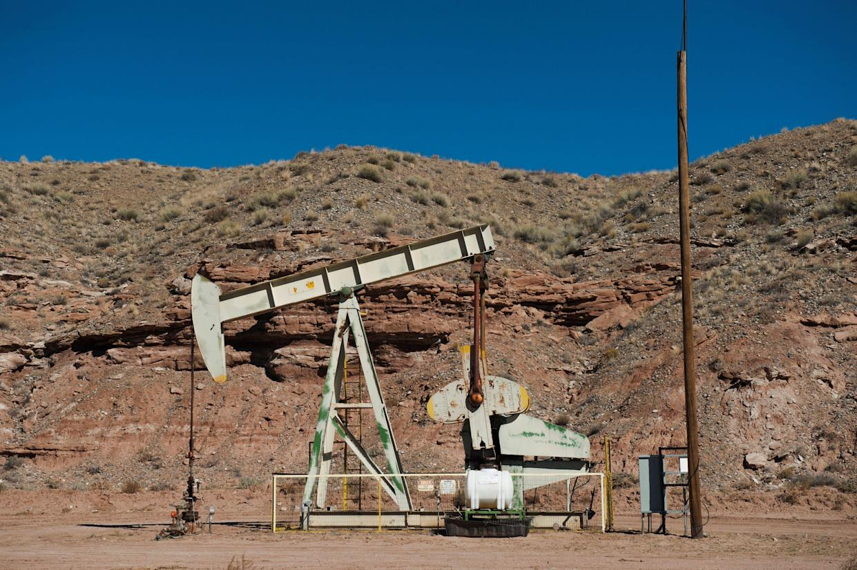 """An oil pumpjack is seen near Aneth, Utah. More than half of the 26 million federal acres leased to the oil and gas industry are not being used for production, <a href=""""https://www.doi.gov/pressreleases/fact-sheet-president-biden-take-action-uphold-commitment-restore-balance-public-lands"""" target=""""_blank"""" rel=""""noopener noreferrer"""">according</a> to the Interior Department. (Photo: Andrew Cullen / Reuters)"""