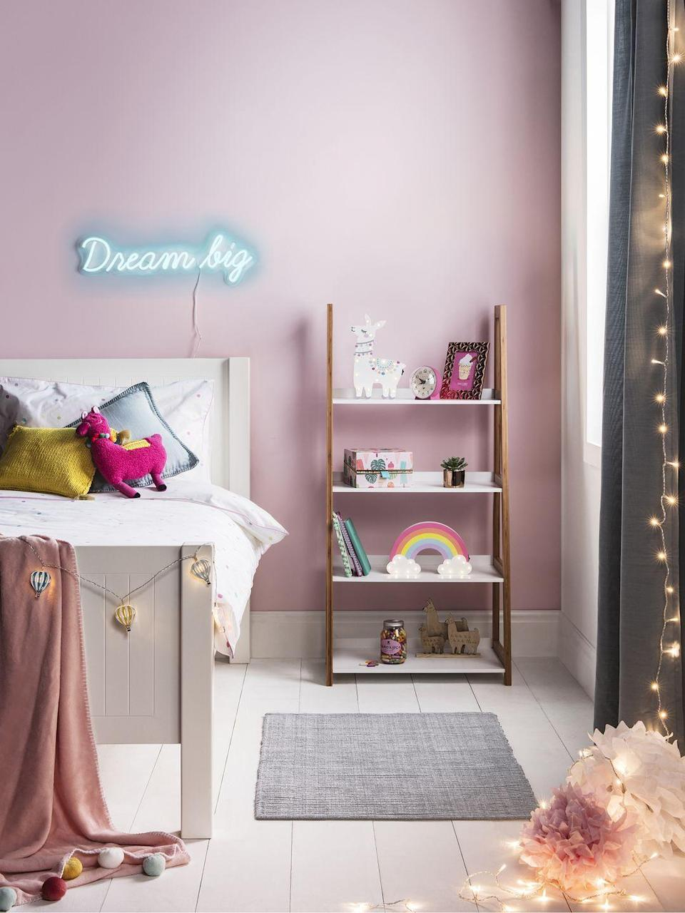 """<p>From fairy lights to neon signs, often it's the finishing touches that can have the most transformative effect in a bedroom. With sugary pink walls and grey curtains, it's the lights that bring some character to this bedroom space.</p><p>Pictured: Sundae Children's Collection, <a href=""""https://go.redirectingat.com?id=127X1599956&url=https%3A%2F%2Fwww.lights4fun.co.uk%2Fcollections%2Findoor-childrens-lights&sref=https%3A%2F%2Fwww.housebeautiful.com%2Fuk%2Fdecorate%2Fbedroom%2Fg35589644%2Fgirls-bedroom-ideas%2F"""" rel=""""nofollow noopener"""" target=""""_blank"""" data-ylk=""""slk:Lights4fun"""" class=""""link rapid-noclick-resp"""">Lights4fun</a></p>"""