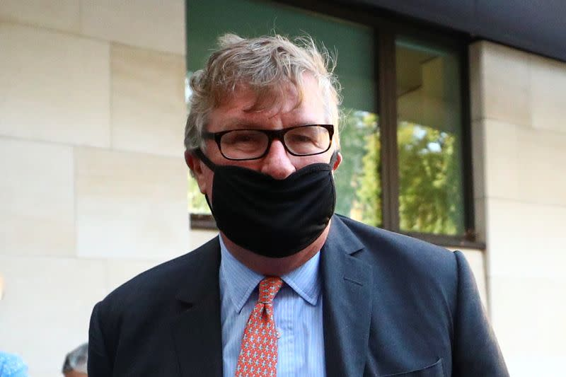 Britain's Crispin Odey arrives at Westminster Magistrates Court in London