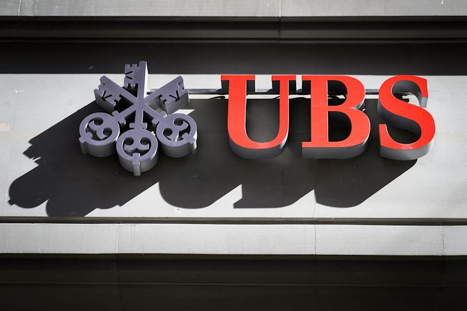 A sign of Swiss banking giant UBS is seen on a branch in Bern on April 25, 2019 in Bern. Photo: FABRICE COFFRINI/AFP/Getty Images