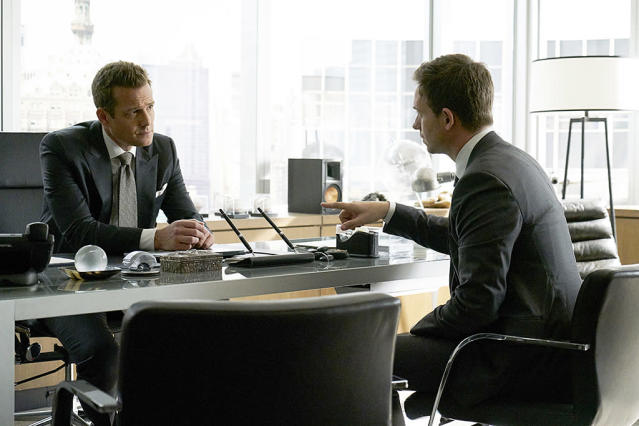 "<p><strong>This Season's Theme: </strong>Fun! Now that Mike (Patrick J. Adams) is a full-fledged lawyer (and back with the firm), he and Harvey (Gabriel Macht) get to play together again. As creator Aaron Korsh says, ""One of the goals of this year was to get back to having a little bit of fun between Harvey and Mike.""<br><br><strong>Where We Left Off: </strong>Mike passed the bar, thanks to a last-second appearance by Jessica (Gina Torres), and struck a deal with Harvey to return to the firm while also taking on pro bono cases from the law clinic. Louis (Rick Hoffman) was left broken-hearted when Tara ended their relationship, and Donna (Sarah Rafferty) was disappointed when she couldn't patent her product.<br><br><strong>Coming Up: </strong>The ""one case for Mike, one case for Harvey"" deal is going to be complicated. ""There's an inherent conflict between the needs of your corporate clients and the needs of your pro bono clients,"" Korsh says. Also, with Jessica's departure (to a possible spinoff), the firm has some big shoes to fill. We'll meet a new lawyer (played by Dule Hill) who the firm tries to recruit, though ""he and Harvey have a history."" And Korsh teased, ""We're going to meet a character that we have heard referred to numerous times, but we've never met."" As for Rachel (Meghan Markle), she and Mike continue planning their wedding.<br><br><strong>Litt Up:</strong> Can't poor Louis ever catch a break? ""I do not enjoy torturing Louis,"" Korsh says with a laugh. ""The person that seems to enjoy torturing Louis the most is Louis. What we're going to try to do this year is help him explore why he does that. It's going to be a journey for him."" <em>— KW</em><br><br>(Photo: Ian Watson/USA Network) </p>"