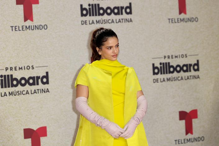 Rosalía Wore the Most Electrifying Highlighter-Yellow Valentino Cape on the Red Carpet