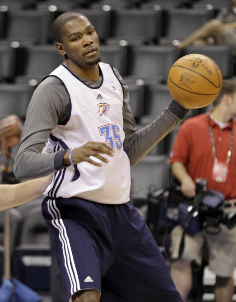Oklahoma City Thunder's Kevin Durant heads to the basket during basketball practice, Wednesday, June 13, 2012, in Oklahoma City. Game 2 of NBA finals between the Miami Heat and the Thunder is Thursday. (AP Photo/Sue Ogrocki)