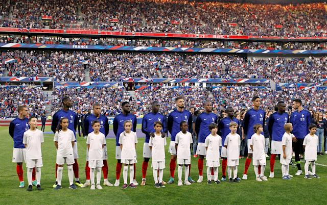 Soccer Football - International Friendly - France vs USA - Groupama Stadium, Lyon, France - June 9, 2018 France players line up during the national anthems before the match REUTERS/Emmanuel Foudrot