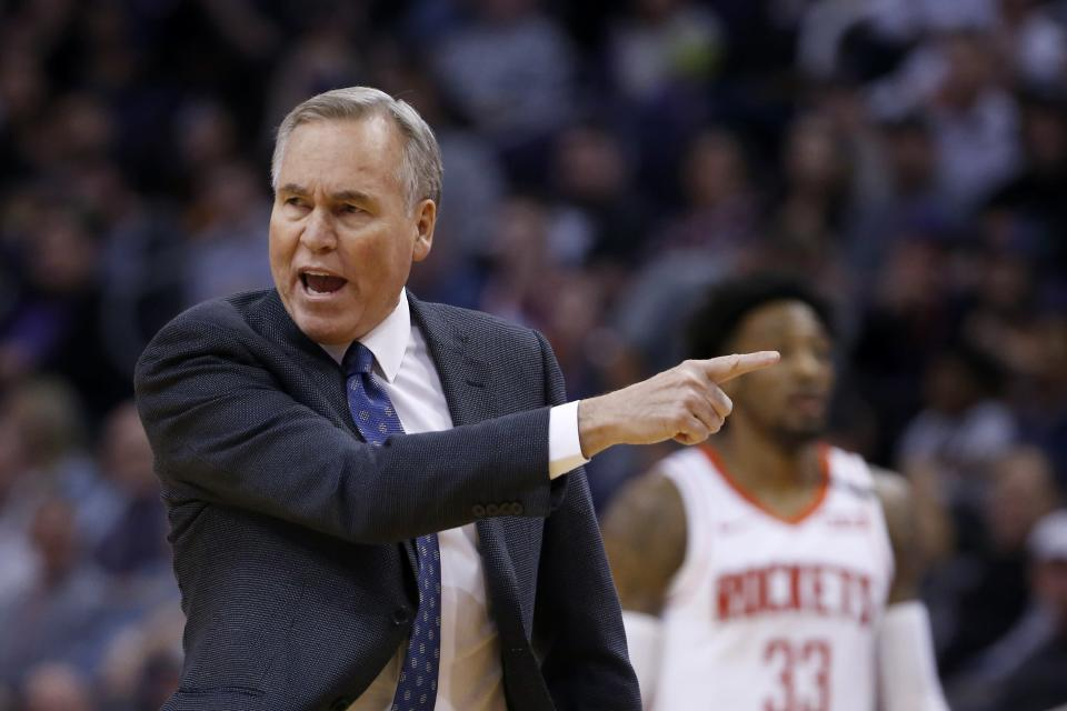 Houston Rockets head coach Mike D'Antoni argues with officials during the first half of an NBA basketball game against the Phoenix Suns, Friday, Feb. 7, 2020, in Phoenix. (AP Photo/Ross D. Franklin)