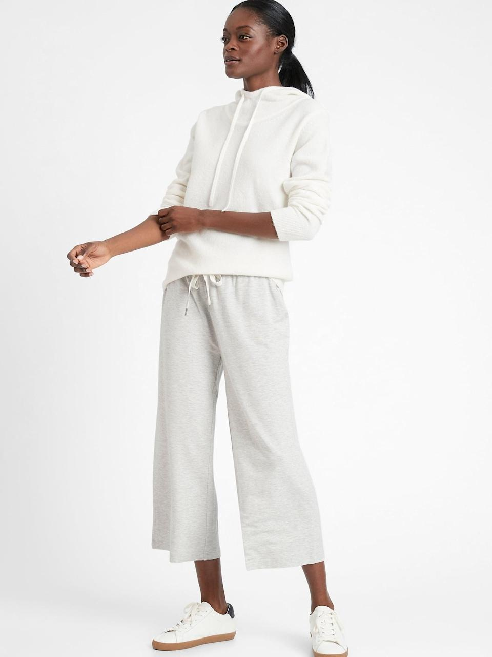 <p>The oversized <span>Banana Republic Baby Terry Cropped Lounge Pant</span> ($41, originally $70) is the perfect medium weight, lighter than the average fleece-sweatpants option.</p>