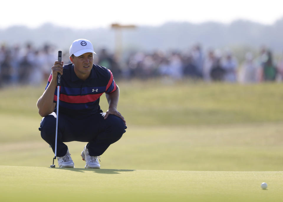 United States' Jordan Spieth lines up a a put on the 16th during the final round of the British Open Golf Championship at Royal St George's golf course Sandwich, England, Sunday, July 18, 2021. (AP Photo/Ian Walton)