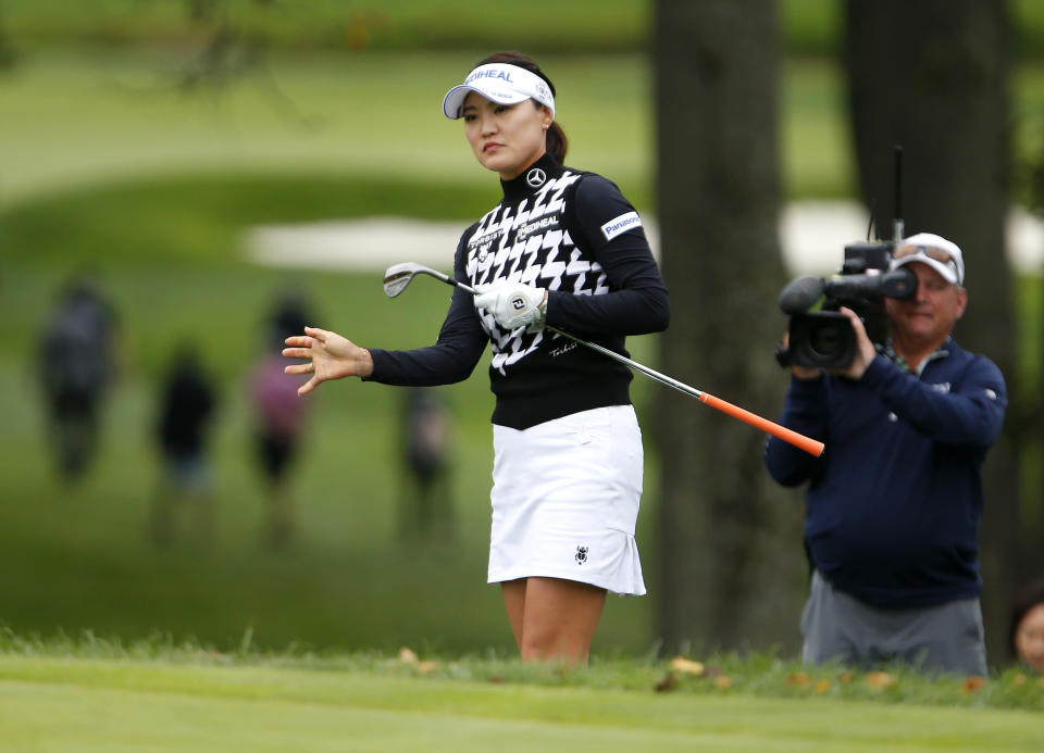 So Yeon Ryu, of South Korea, reacts after missing a putt at the fifth hole during the third round of the Cognizant Founders Cup golf tournament Saturday, Oct. 9, 2021, in West Caldwell, N.J. (AP Photo/Noah K. Murray)