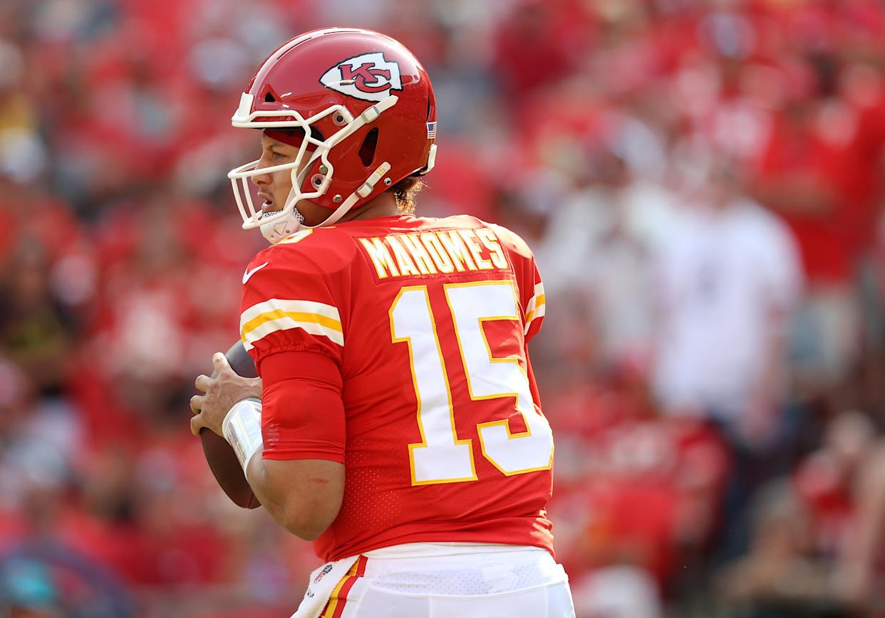 KANSAS CITY, MISSOURI - SEPTEMBER 12: Patrick Mahomes #15 of the Kansas City Chiefs looks to pass against the Cleveland Browns during the first half at Arrowhead Stadium on September 12, 2021 in Kansas City, Missouri. (Photo by Jamie Squire/Getty Images)