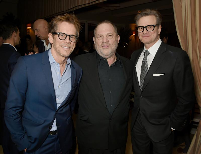 Actor Kevin Bacon, Weinstein and host Colin Firth attend a dinner inin Los Angeles, California, onFeb.24, 2017.