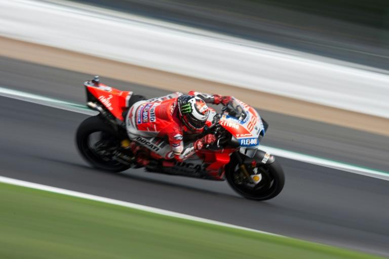 Spanish MotoGP rider Jorge Lorenzo practises for the British Grand Prix at Silverstone
