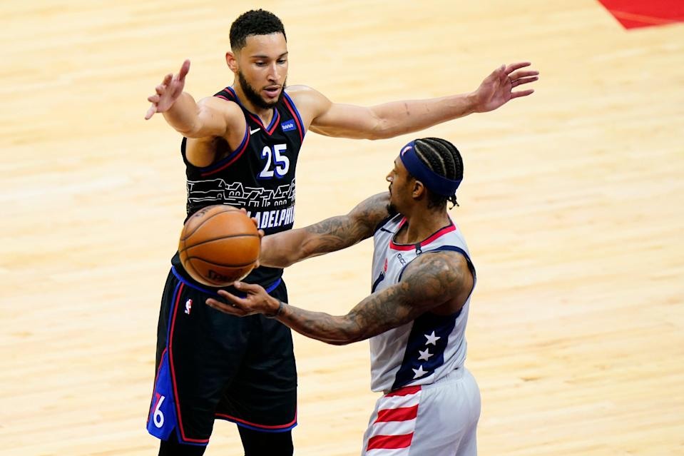 Although critics harp on his scoring and free-throwing shooting, Sixers coach Doc Rivers says Ben Simmons (25) helps the team in so many other ways. Simmons is a leading candidate for Defensive Player of the Year.