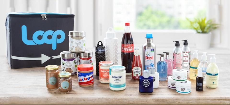 Undated handout photo issued by Loop of some of the brands that already or will soon have products in fully reusable packaging which can be returned, cleaned and refilled through the scheme. A zero-waste shopping service is launching in the UK to allow people to buy products from laundry detergent to ketchup in refillable packaging.