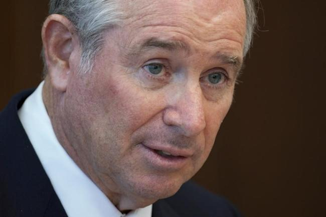 Stephen A. Schwarzman, Chairman, CEO and Co-Founder of the Blackstone Group, speaks during a news conference in Hong Kong October 26, 2012.</p> <p>REUTERS/Tyrone Siu