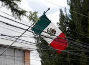 Mexican flag is seen at its embassy in La Paz