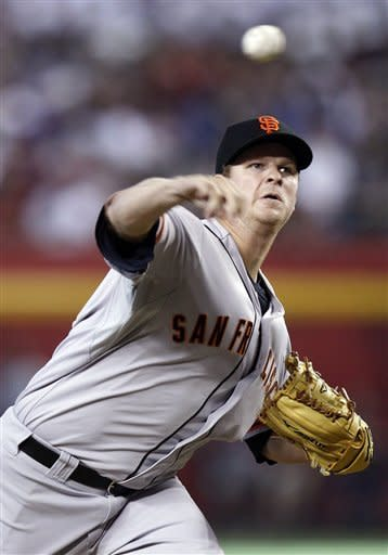 San Francisco Giants' Matt Cain releases a pitch against the Arizona Diamondbacks in the first inning of a baseball game Saturday, May 12, 2012, in Phoenix.(AP Photo/Paul Connors)
