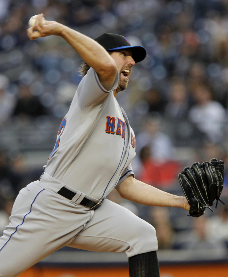 New York Mets' R.A. Dickey delivers a pitch during the first inning of an interleague baseball game against the New York Yankees, Friday, May 20, 2011, at Yankee Stadium in New York. (AP Photo/Frank Franklin II)