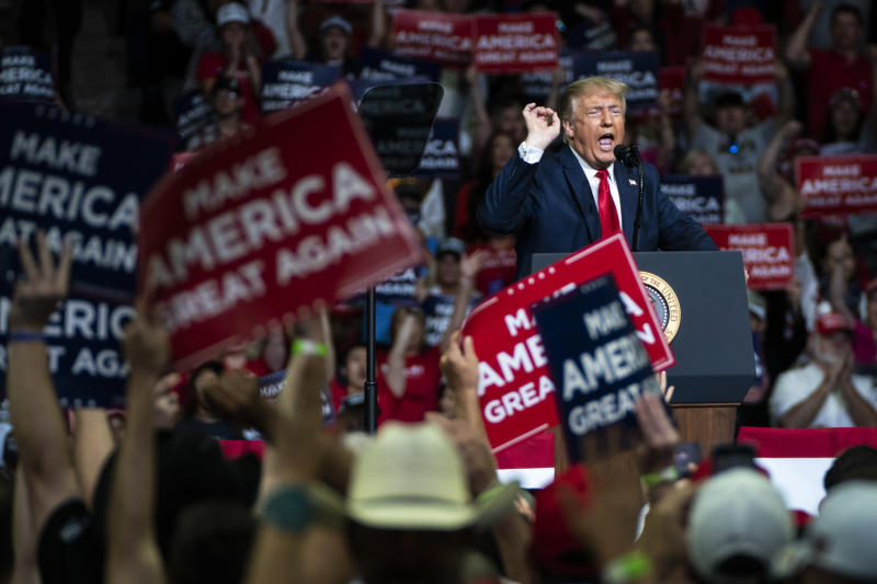 """TULSA, OK - JUNE 20: President Donald J. Trump speaks during a """"Make America Great Again!"""" rally at the BOK Center on Saturday, June 20, 2020 in Tulsa, OK. (Photo by Jabin Botsford/The Washington Post via Getty Images)"""