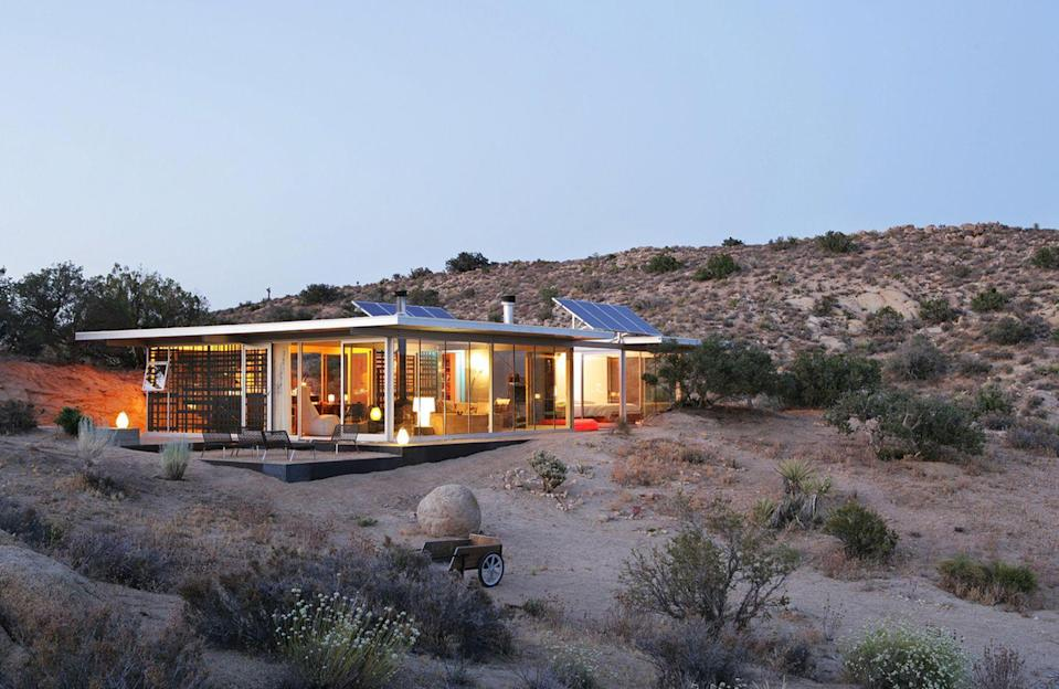 """<p>Want to truly get away from it all but still maintain some creature comforts? Look no further than this award-winning, 100 percent off-the-grid house located in a remote valley in the California desert. The two-bedroom retreat, designed and hosted by Los Angeles–based architect <a href=""""http://www.taalmanarchitecture.com/"""" rel=""""nofollow noopener"""" target=""""_blank"""" data-ylk=""""slk:Linda Taalman"""" class=""""link rapid-noclick-resp"""">Linda Taalman</a>, features soothing, minimal interiors, with sweeping views to the sun-baked landscape outside. It's the ideal locale for much-needed digital detox (there's no TV and Wi-Fi is for emergency use only) and as a livable case study in sustainability.</p><p><a class=""""link rapid-noclick-resp"""" href=""""https://www.airbnb.com/rooms/19606"""" rel=""""nofollow noopener"""" target=""""_blank"""" data-ylk=""""slk:Book Now"""">Book Now</a></p>"""