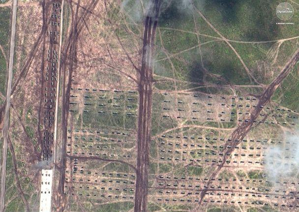 PHOTO: A satellite image shows artillery and armored vehicles in formation during Russia's 'Vostok 2018' military exercises in Tsugol, Russia, on Sep. 13, 2018. (Satellite image (c)2018 DigitalGlobe, a Maxar company)