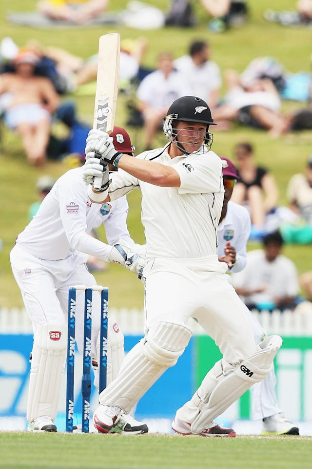 HAMILTON, NEW ZEALAND - DECEMBER 21: Corey Anderson of New Zealand pulls the ball away for four runs during day three of the Third Test match between New Zealand and the West Indies at Seddon Park on December 21, 2013 in Hamilton, New Zealand.  (Photo by Hannah Johnston/Getty Images)