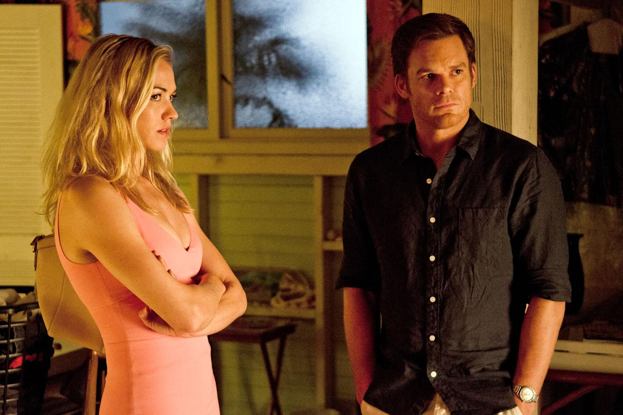 """Yvonne Strahovski as Hannah McKay and Michael C. Hall as Dexter Morgan in the """"Dexter"""" Season 8 episode, """"Make Your Own Kind of Music."""""""