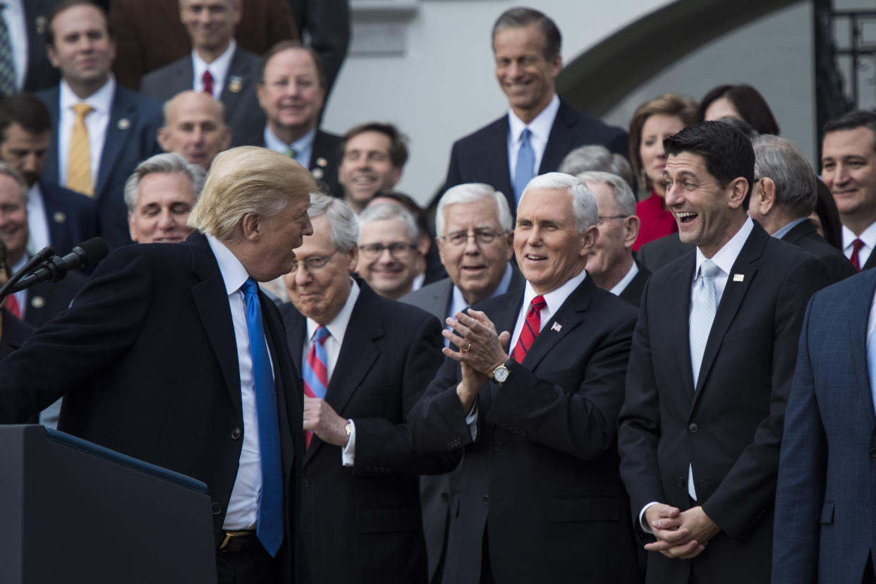 President Trump, Senate Majority Leader Mitch McConnell, Vice President Mike Pence, and Ryan after the passage of the tax bill, Dec. 20, 2017. (Photo: Jabin Botsford/The Washington Post via Getty Images)