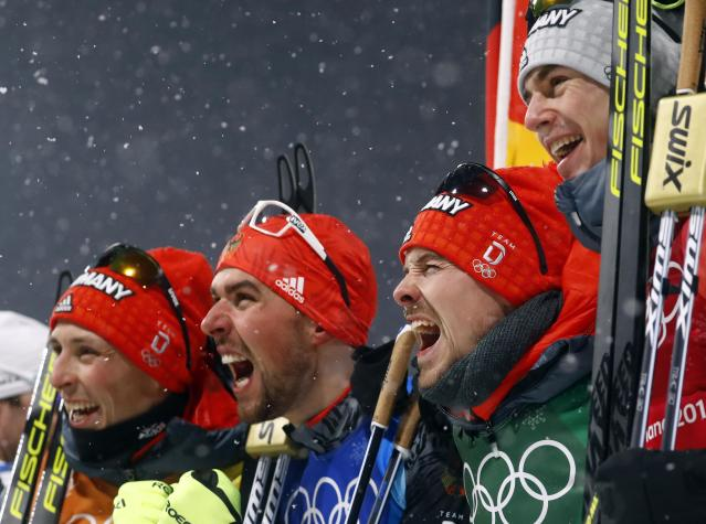 Nordic Combined Events - Pyeongchang 2018 Winter Olympics - Men's Team 4 x 5 km Final - Alpensia Cross-Country Skiing Centre - Pyeongchang, South Korea - February 22, 2018 - Eric Frenzel, Johannes Rydzek, Fabian Riessle and Vinzenz Geiger of Germany celebrate their win. REUTERS/Kai Pfaffenbach