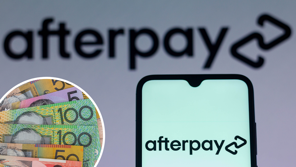 Australian currency and the Afterpay logo on a phone and in the background.
