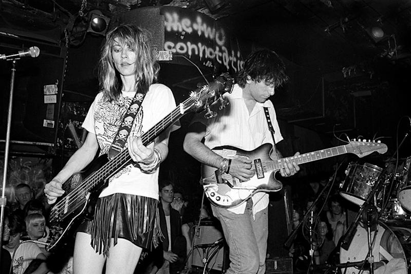 """Sonic Youth performing at CBGB in New York City, 1986. Photographed by Ebet Roberts and featured in the exhibition """"Grunge: Rise of a Generation,"""" curated by Marcelle Murdock and Casey Fannin-Kaplan. On view at Morrison Hotel Gallery in New York, Maui, and Los Angeles from March 8 through 31, 2019."""