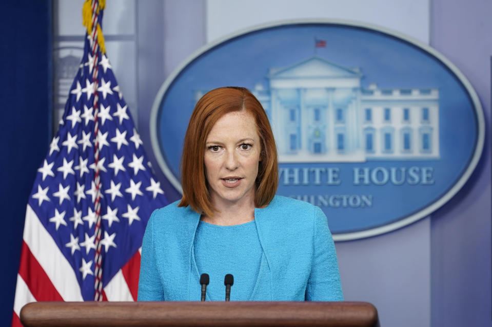 White House press secretary Jen Psaki speaks during the daily briefing at the White House in Washington, Thursday, July 15, 2021. (AP Photo/Susan Walsh)