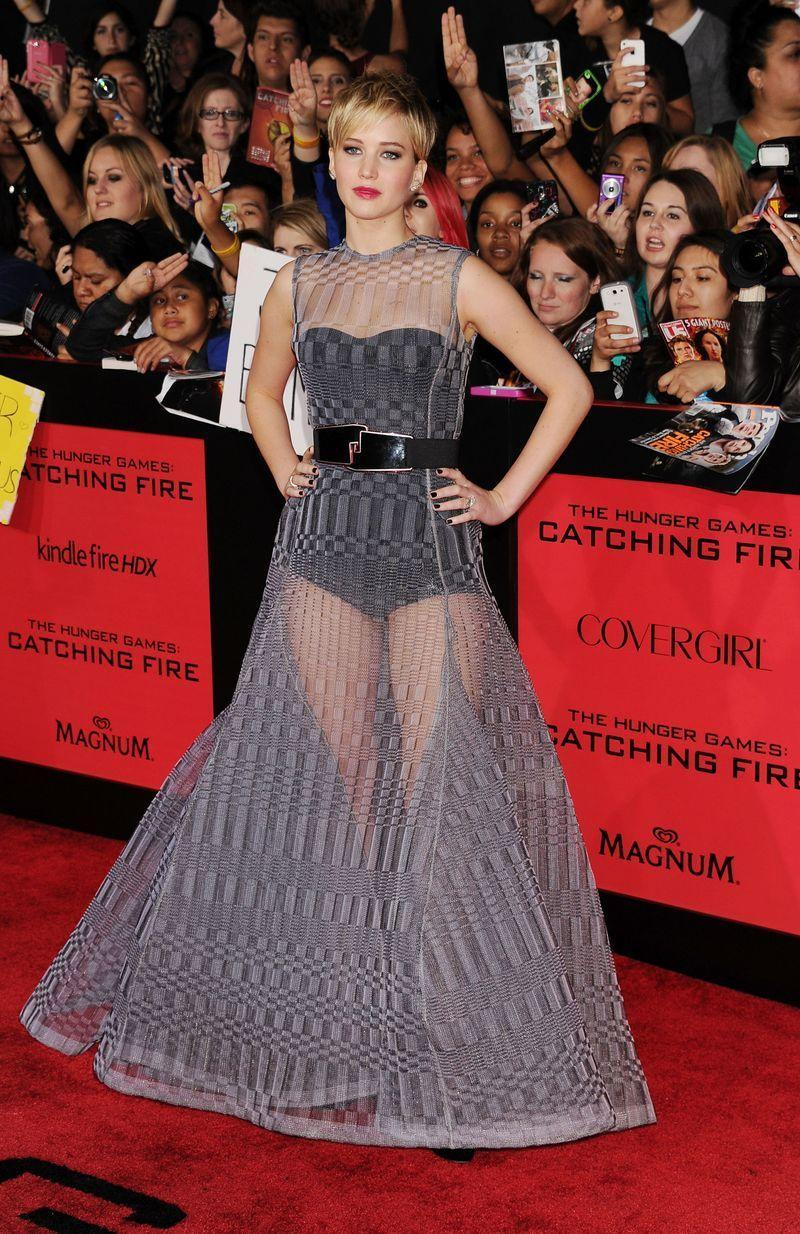 <p>Jennifer Lawrence arrived at the 2013 The Hunger Games premiere wearing this A-line Christian Dior gown.</p>