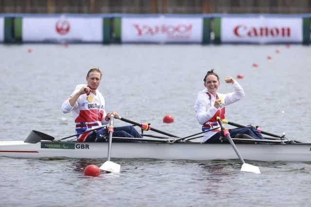 Laurence Whiteley, left, won rowing gold on his 30th birthday, alongside Lauren Rowles