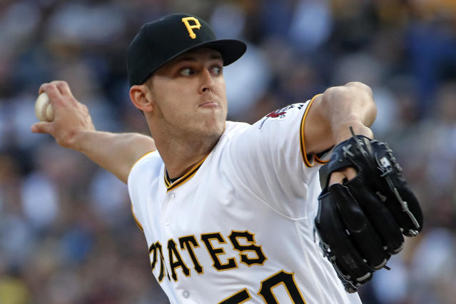 Pittsburgh Pirates starting pitcher Jameson Taillon delivers in the first inning of a baseball game against the San Francisco Giants in Pittsburgh, Friday, May 11, 2018. (AP Photo/Gene J. Puskar)