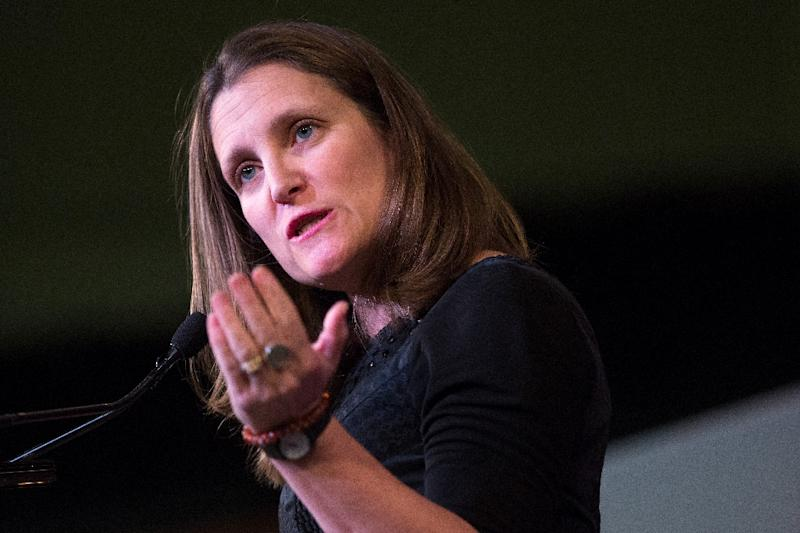 """Canadian Foreign Minister Chrystia Freeland, pictured in April 2018, repeated a call for the """"immediate"""" release of Canadians detained in China (AFP Photo/Lars Hagberg)"""