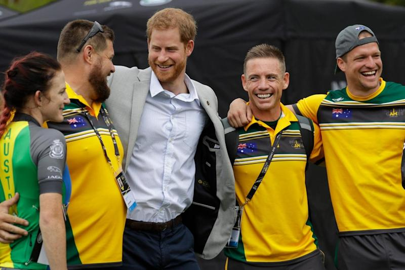 Harry meets Australian Invictus Games competitors during his solo engagement on Sunday (AP)
